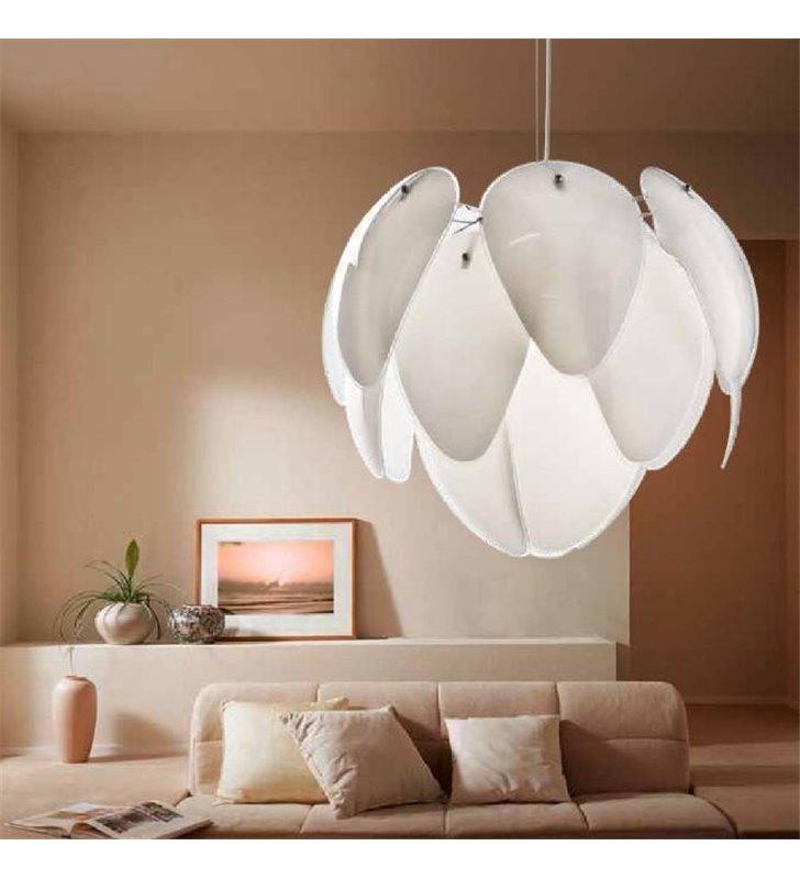 Szklana lampa wisząca Antires biała klosz jak szyszka do salonu sypialni jadalni kuchni