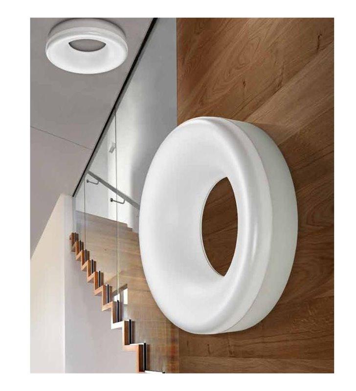 Plafon Ring 370 biała okrągła obręcz do salonu sypialni przedpokoju na sufit i ścinę
