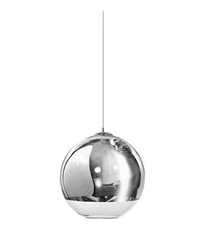 Lampa wisząca Silver Ball 18 szklana kula częściowo chromowana