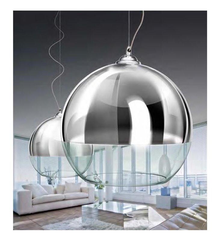 Lampa wisząca Silver Ball 40 częściowo chromowana szklana kula