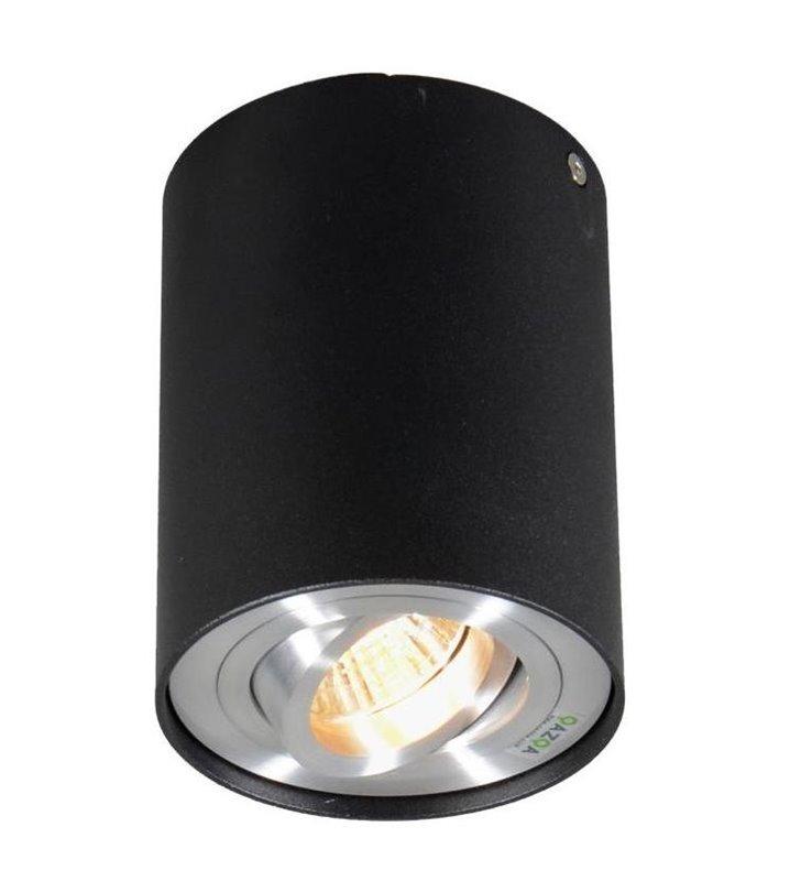 Pojedyncza lampa sufitowa typu downlight Rondoo okrągła walec czarna ruchoma