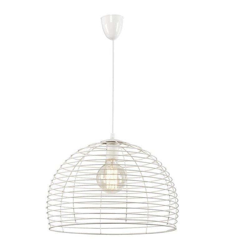 Perth biała lampa wisząca z okrągłym metalowym kloszem - OD RĘKI