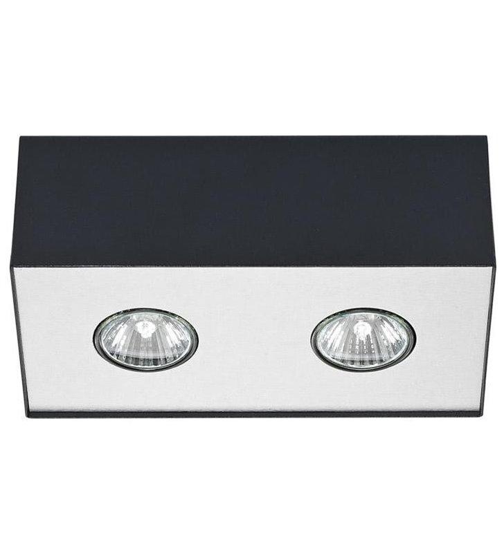 Lampa sufitowa Carson Black czarna downlight podwójna natynkowa - OD RĘKI