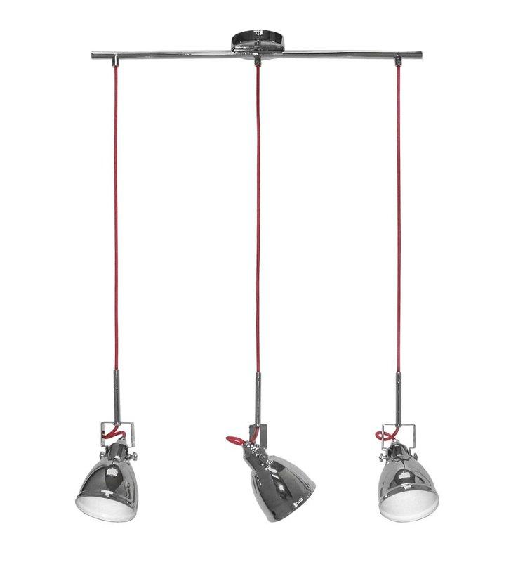 Lampa wisząca Axe 3 zwisy na belce klosz metalowy chrom czerwony kabel