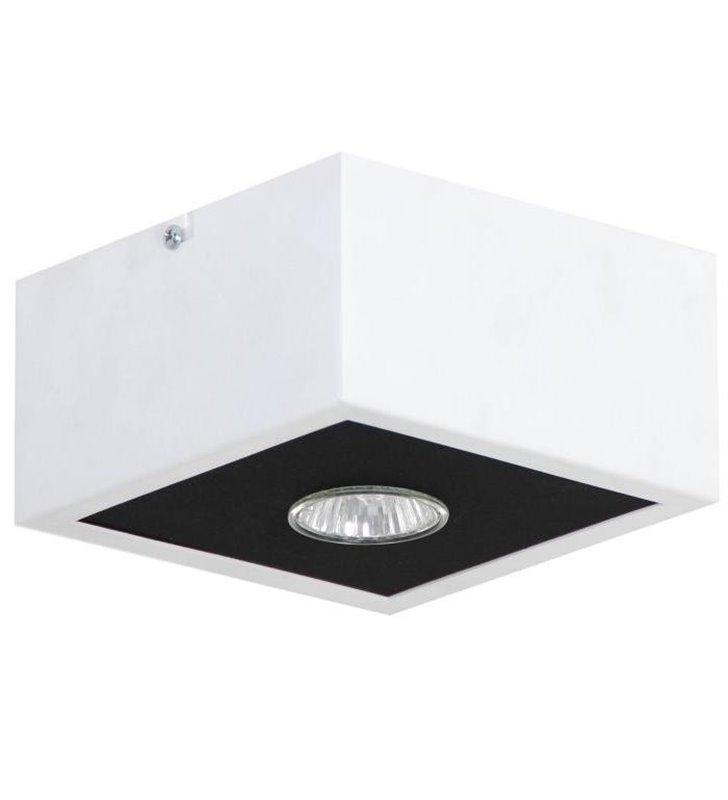 Mały biało czarny plafon Box 155 kwadratowy nowoczesny GU10 do salonu na przedpokój