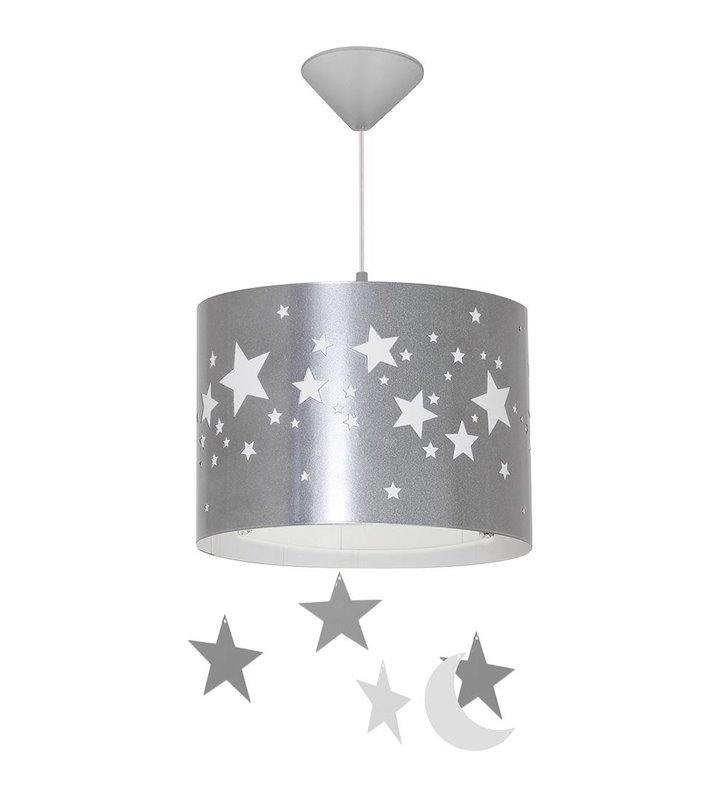 Lampa wisząca Gwiazdy srebrna z białymi gwiazdkami dla dzieci