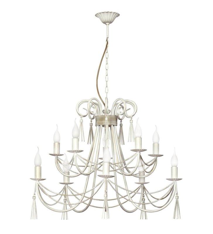 Żyrandol Twist White biało złoty świecznikowy piętrowy ozdobny