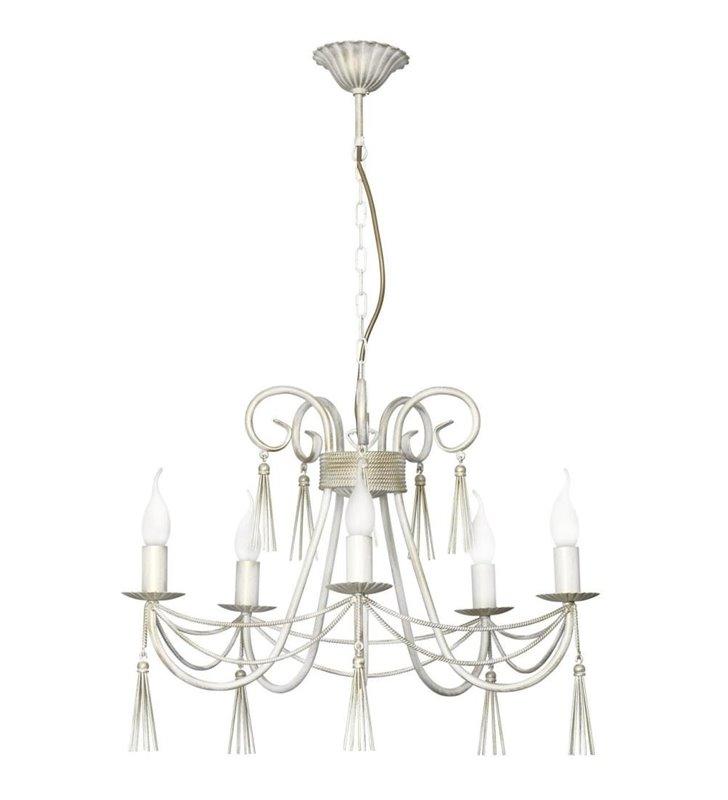 Żyrandol Twist White biało złoty świecznikowy 5 płomienny ozdobny