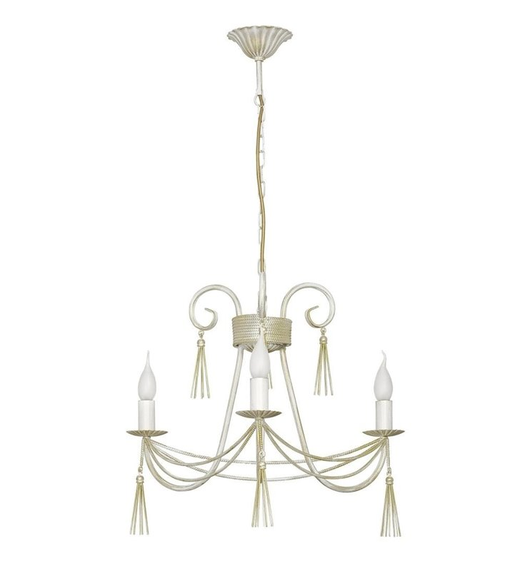 Żyrandol Twist White biało złoty świecznikowy 3 płomienny ozdobny