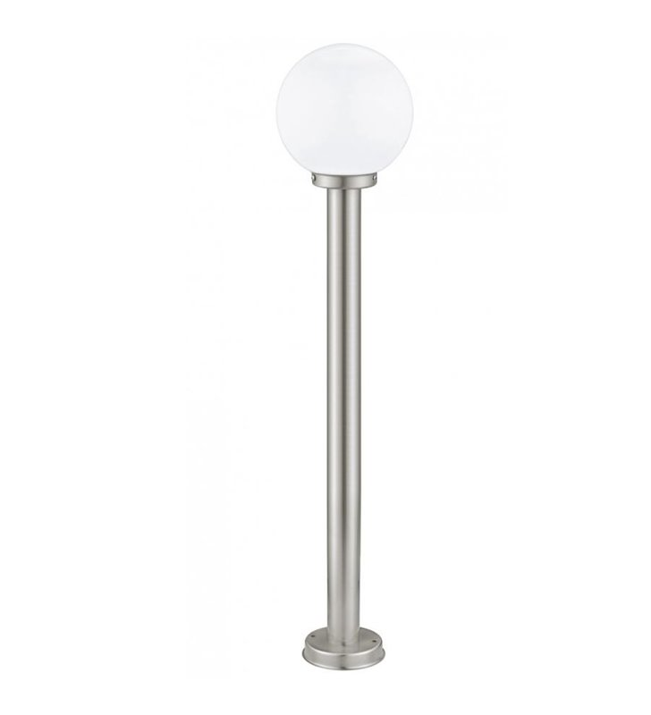Stojąca lampa ogrodowa 100cm Nisia stal klosz szklana kula