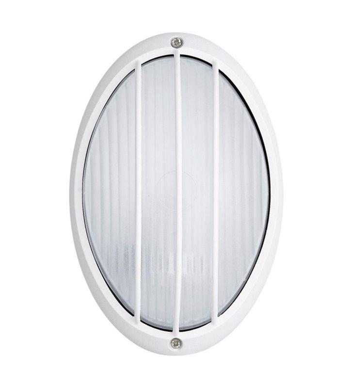 Lampa ogrodowa ścienno sufitowa Siones LED biała ze szklanym kloszem