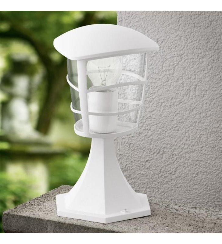 Lampa ogrodowa Aloria niski biały słupek oświetleniowy