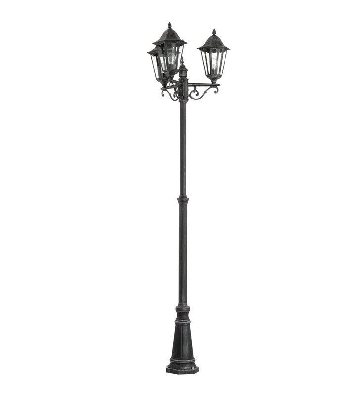 Lampa ogrodowa Navedo 3 punktowa czarno srebrna latarnia 2m styl klasyczny