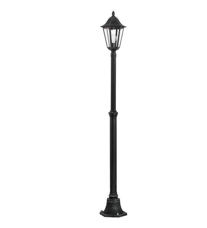 2m pojedyncza latarnia zewnętrzna ogrodowa Navedo czarna ze srebrnymi przetarciami