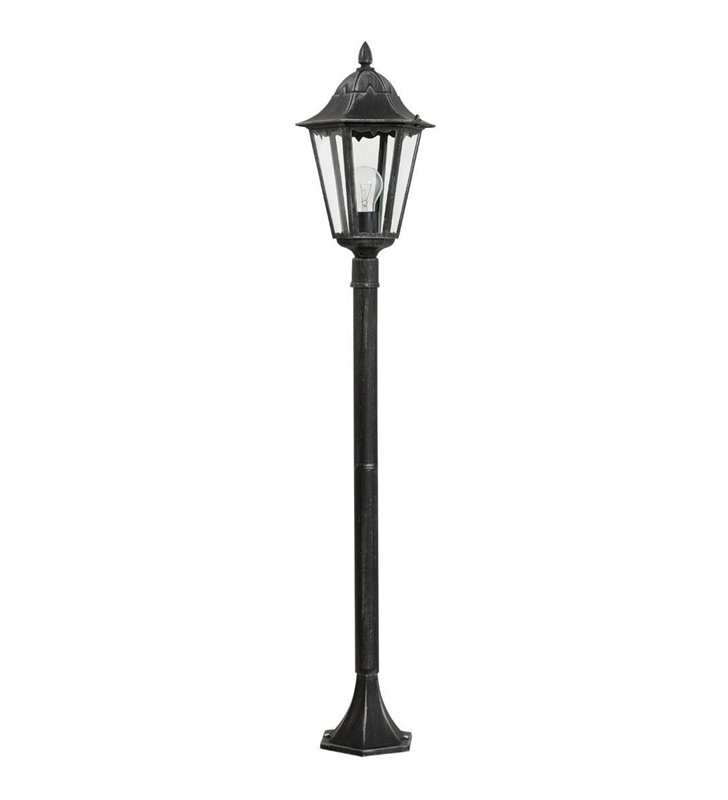 Stojąca lampa ogrodowa Navedo czarna ze srebrnymi przetarciami wysokość 1,2m