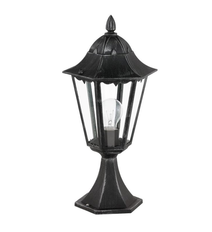 Niski słupek ogrodowy typu latarenka Navedo czarno srebrny klasyczny