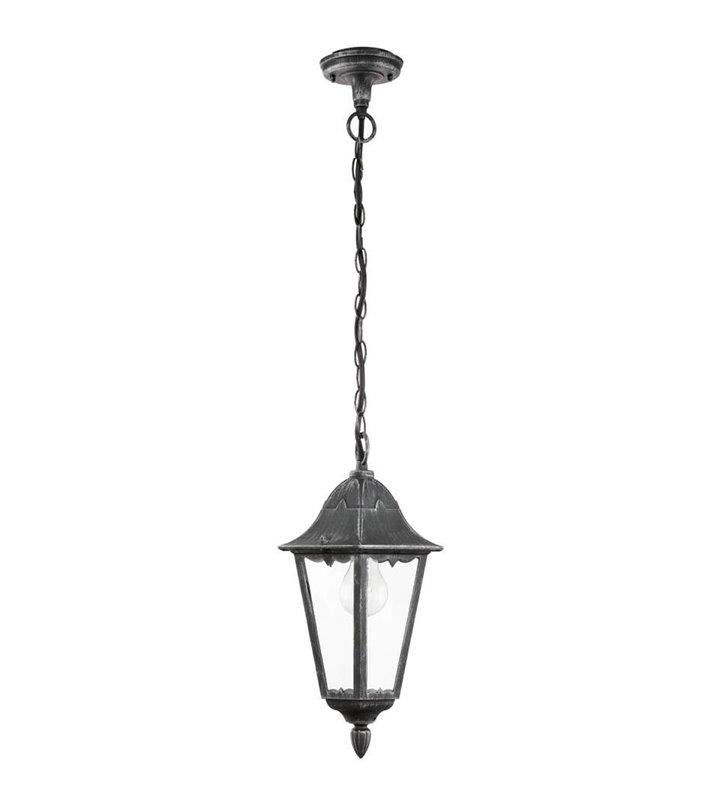 Lampa wisząca ogrodowa Navedo latarenka czarno srebrna bezbarwny klosz