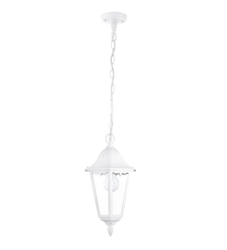 Biała lampa wisząca ogrodowa Navedo latarenka