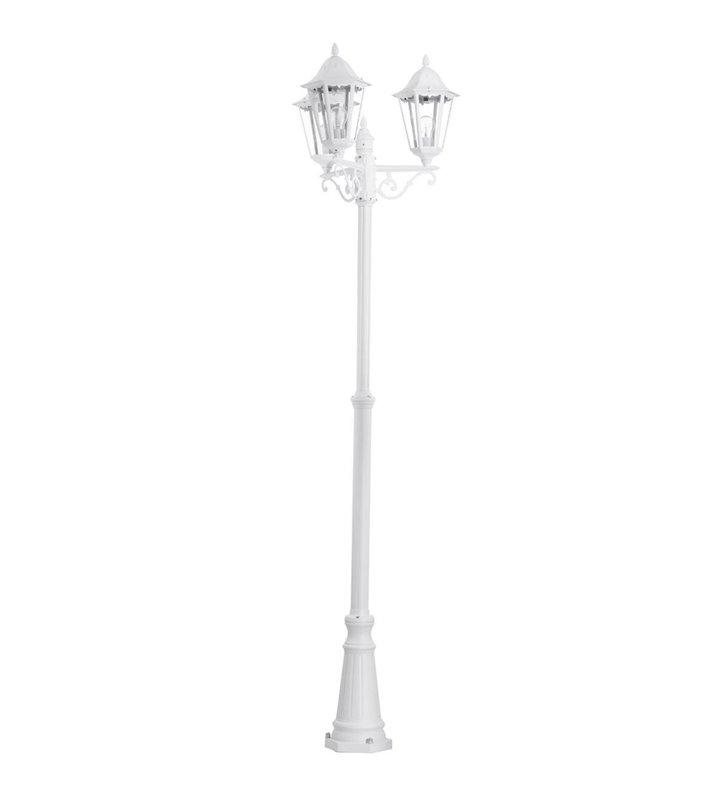 Potrójna biała latarnia ogrodowa Navedo bezbarwny klosz IP44