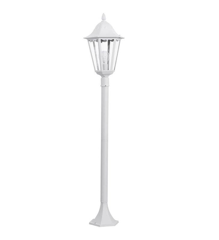 Stojąca biała 1,2m lampa ogrodowa Navedo latarenka