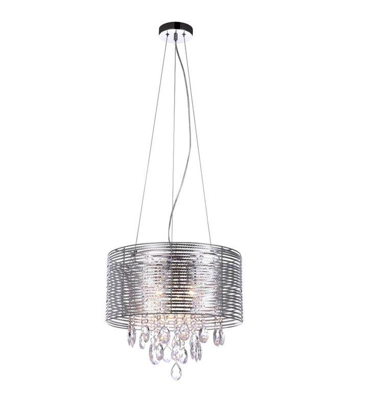 Srebrna lampa wisząca Lento ozdobiona bezbarwnymi kryształami do salonu jadalni sypialni