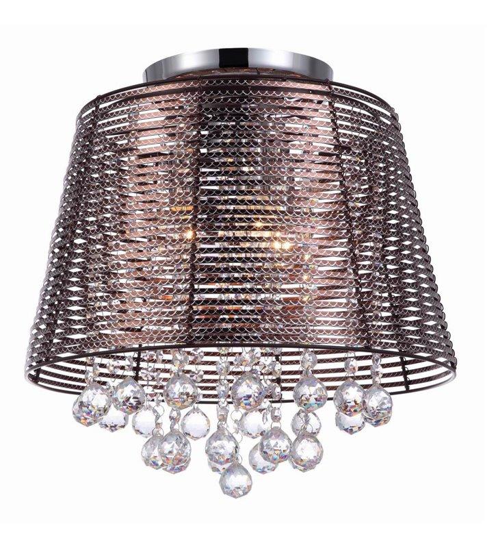 Lampa sufitowa Kutti brązowa metalowa z kryształowymi zawiesiami
