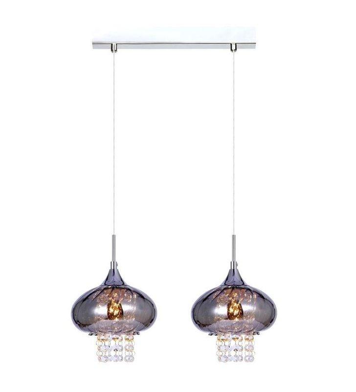 Lampa wisząca Marvi podwójna klosze z przyciemnianego szkła z kryształkami