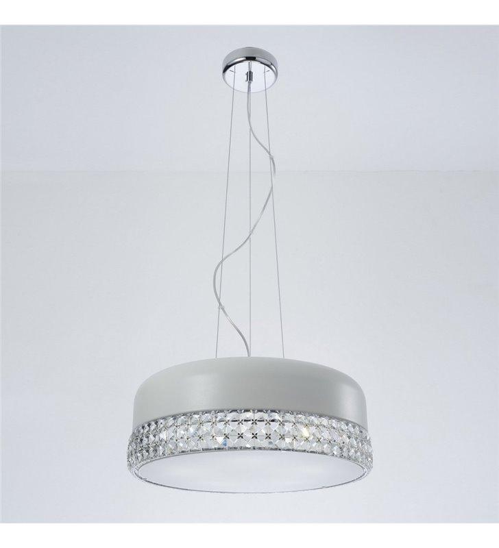 Lampa wisząca Carina biała ozdobiona kryształkami do salonu sypialni nad stół do jadalni kuchni