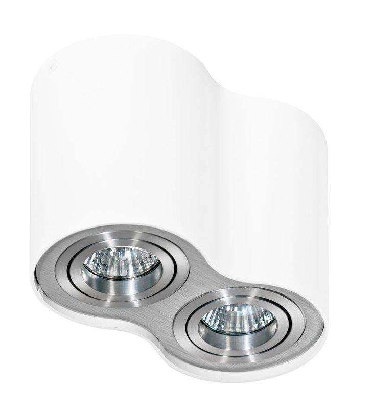 Lampa sufitowa Bross podwójna downlight biała z wykończeniem w kolorze aluminium