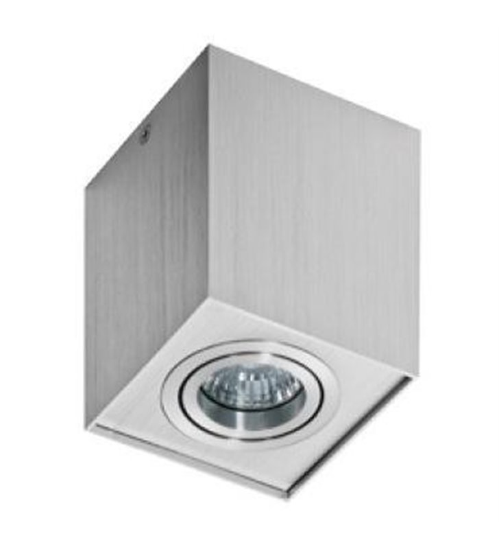 Lampa sufitowa Eloy w kolorze aluminium kwadratowa downlight