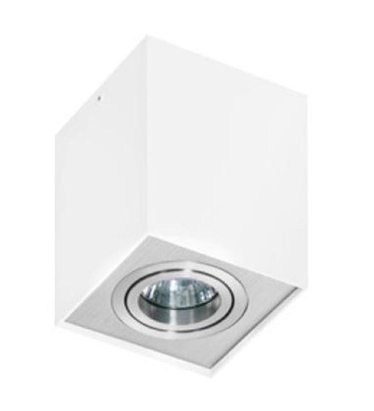 Lampa sufitowa Eloy biała z aluminiowym wykończeniem kwadratowa typu downlight - OD RĘKI