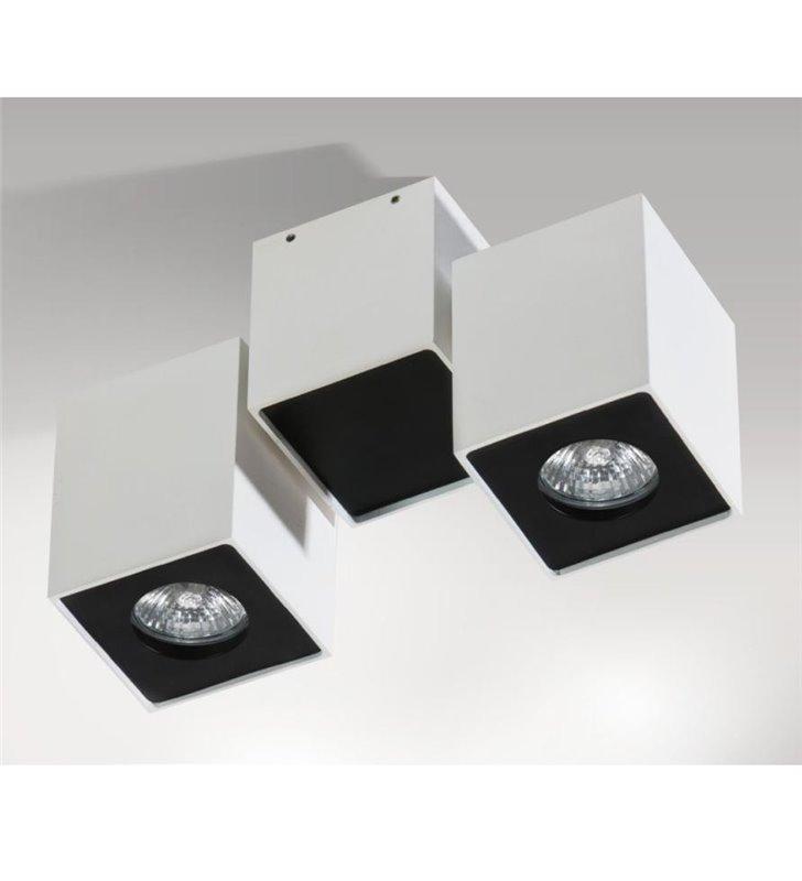 Lampa sufitowa Flavio podwójna nowoczesna biało-czarna z ruchomymi kloszami