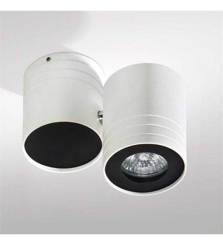 Lampa sufitowa Lalo downlight biała z czarnymi detalami klosz ruchomy
