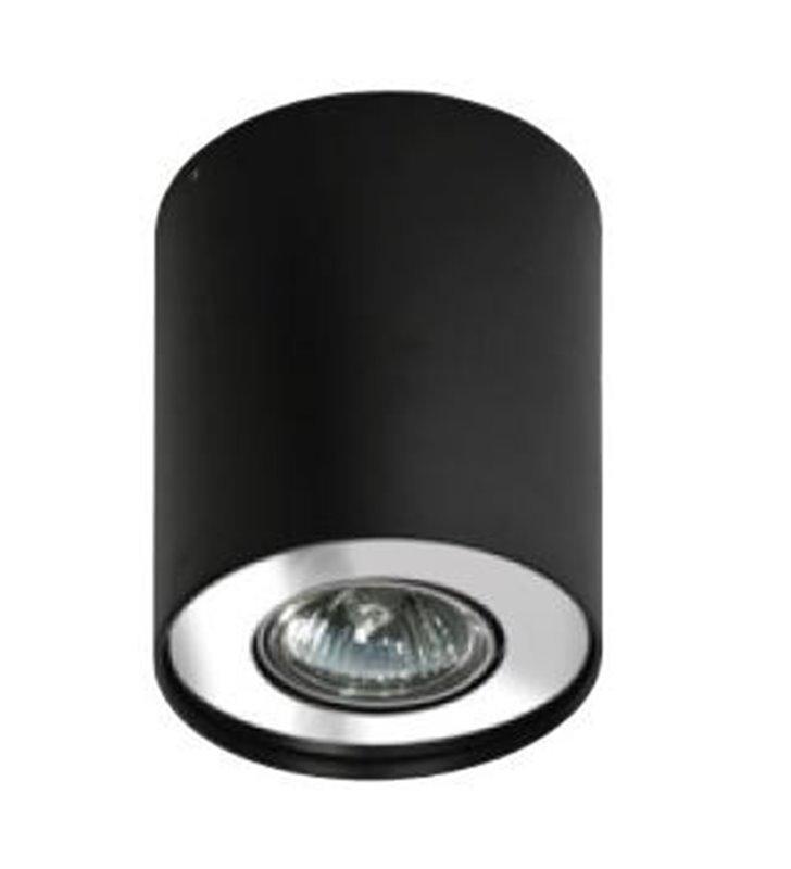 Lampa sufitowa downlight pojedyncza okrągła natynkowa Neos czarna z chromowanym wykończeniem