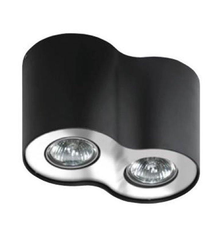 Lampa sufitowa Neos czarna z chromowym wykończeniem natynkowa podwójna downlight