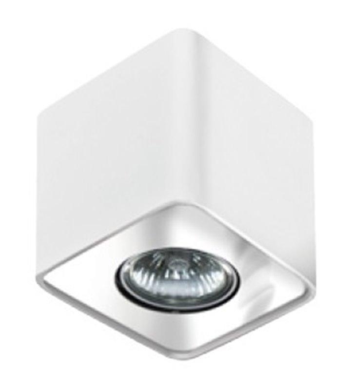 Lampa sufitowa Nino pojedyncza kwadratowa downlight biała z chromowanym wykończeniem - DOSTĘPNA OD RĘKI