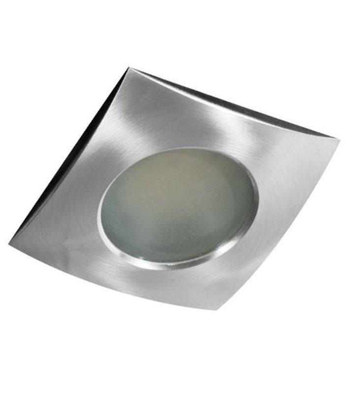 Kwadratowa oprawa punktowa w kolorze aluminium do łazienki Ezio IP54