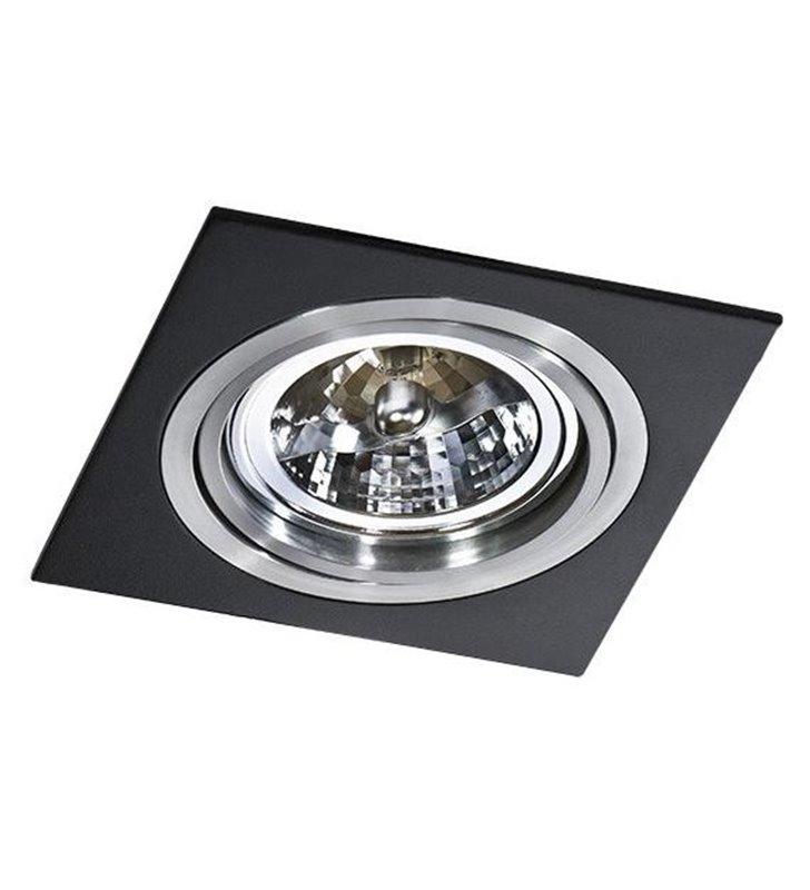 Oprawa punktowa Siro kwadratowa czarna z aluminiowym wykończeniem