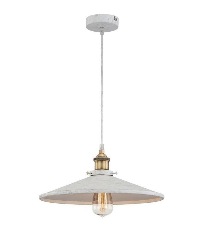 Biała lampa wisząca ze złotymi przetarciami Knud klosz metalowy rozłożysty -  DOSTĘPNA OD RĘKI