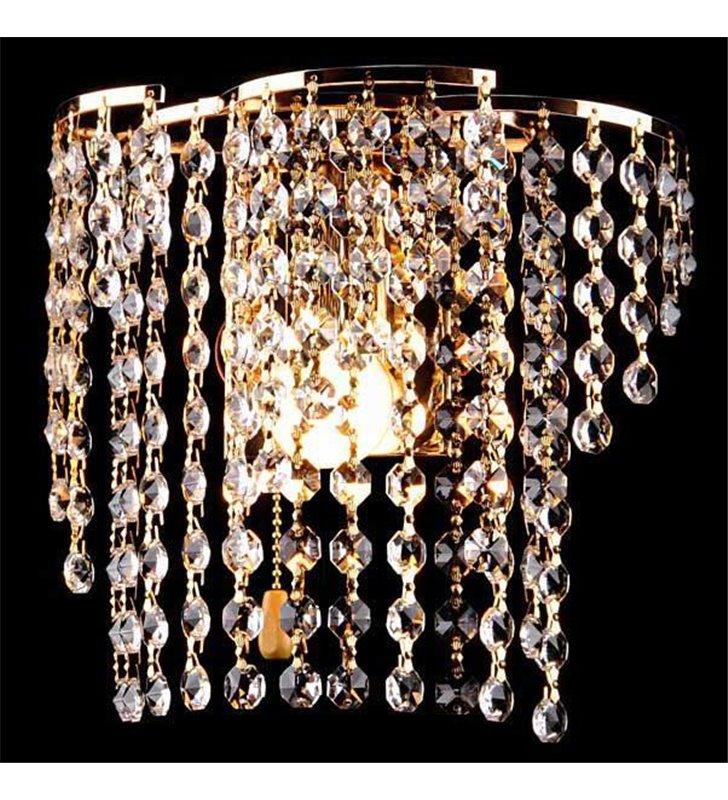 Kinkiet Verde złoty kryształowy do salonu sypialni na przedpokój