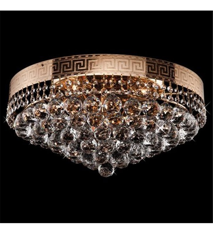 Plafon Montana 500 złoty kryształowy okrągły grecki wzór na metalu