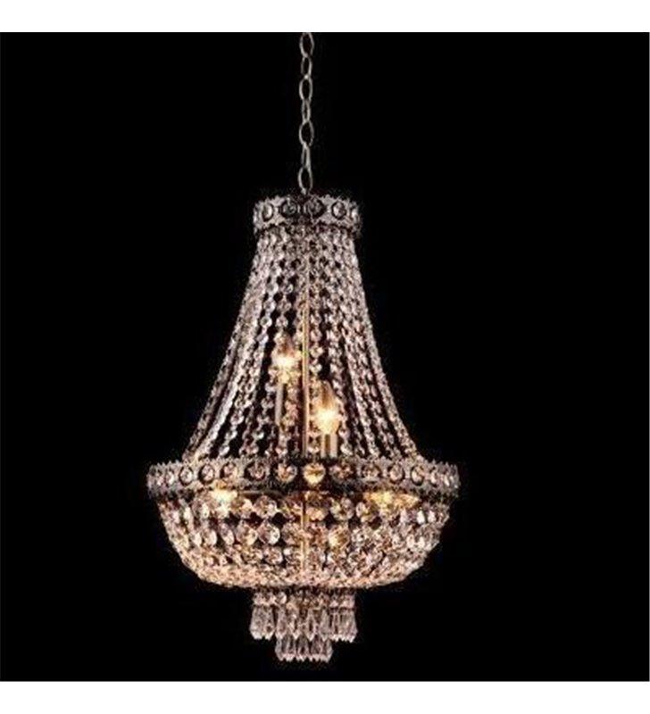 Klasyczna kryształowa lampa wisząca żyrandol Casablanca w kolorze antycznego mosiądzu do jadalni salonu sypialni