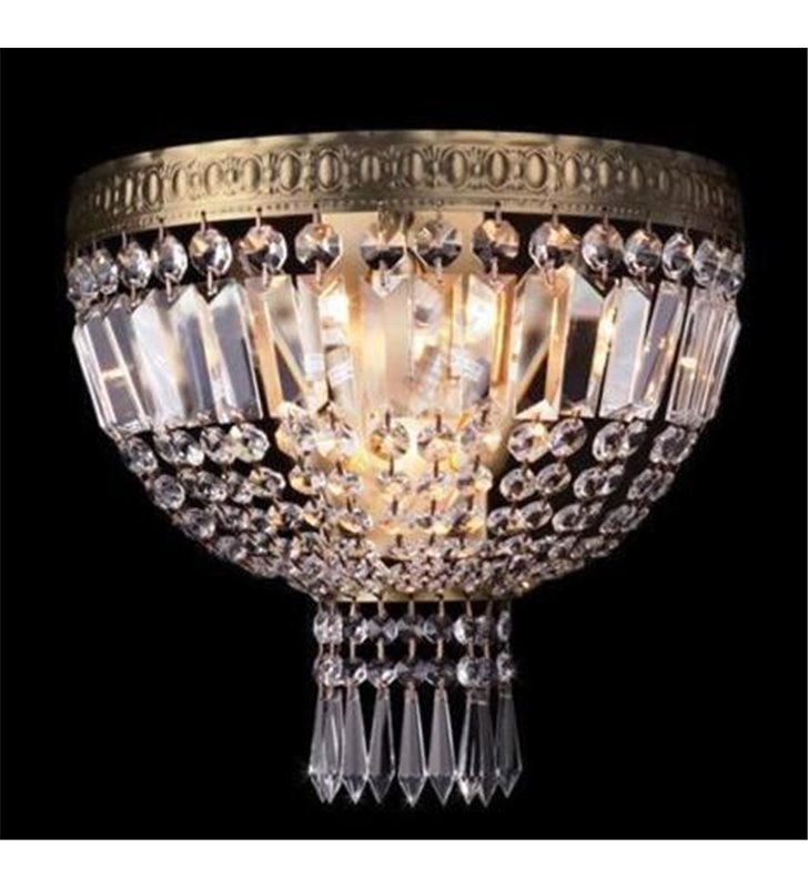Kinkiet Casablanca mosiądz antyczny kryształowy w klasycznym stylu