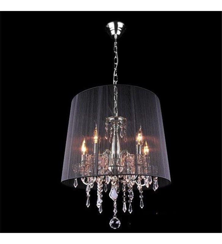 Lampa wisząca Izabel 5 żarówek czarny abażur wykończenie w kolorze chrom kryształki do jadalni nad stół do salonu sypialni