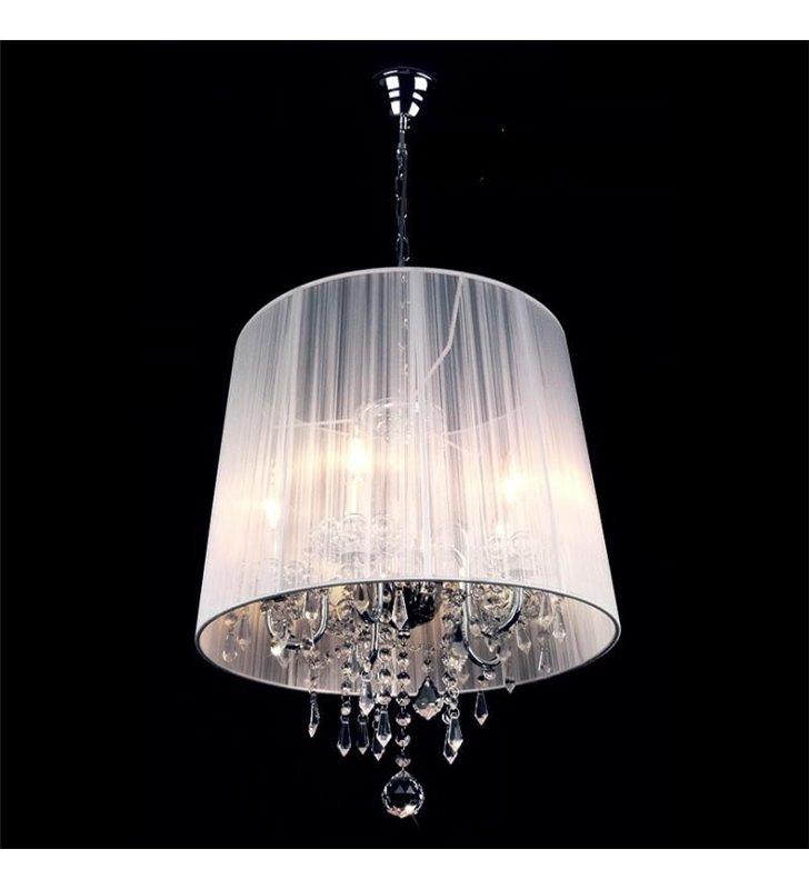 Biała 5 płomienna lampa wisząca z kryształami Izabel