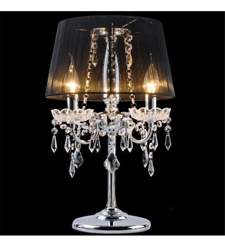 Lampa stołowa Izabel 3 ramienna z czarnym abażurem kryształowe zawiesia do jadalni sypialni salonu