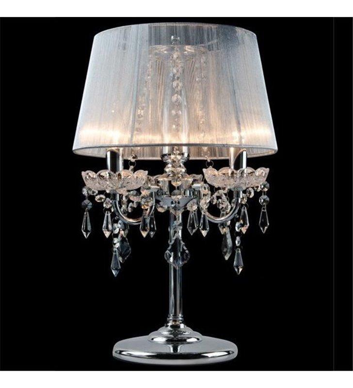 Lampa stołowa Izabel potrójna kryształowa z białym abażurem chromowane wykończenie
