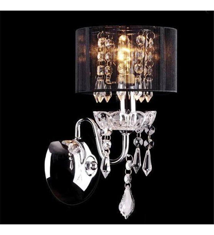 Kinkiet Izabel chrom czarny abażur dekoracyjne kryształki