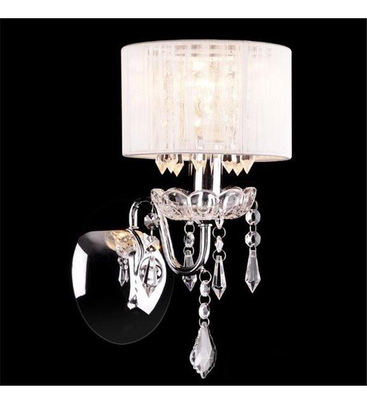 Kinkiet Izabel biały abażur wykończenie chrom eleganckie kryształki