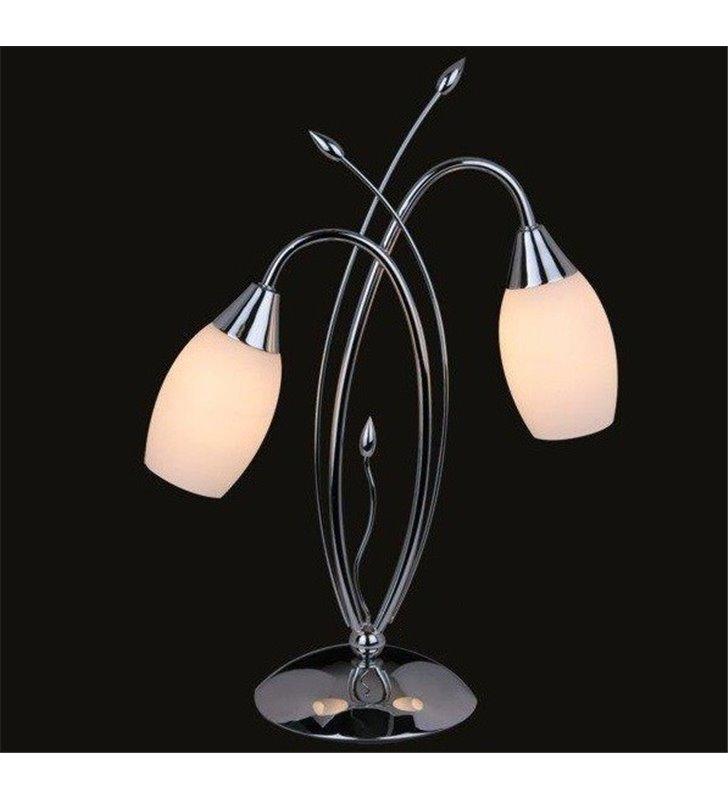 Lampa stołowa Antiq 2 ramienna chrom szklane klosze - DOSTĘPNA OD RĘKI